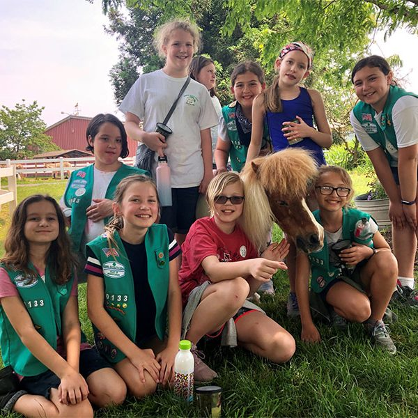 Girl Scout Troupe at Land of Little Horses Animal Theme Park